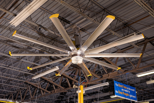'Big Ass Fans' HVLS fans provided air movement for cooling to offset radiant heat gains from the roof-lights.