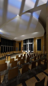 For specific occasional masses, all interior uplighting is removed leaving only the altar/lectern/ambo spotlights.  The space is darkened and 'lowered' giving undivided attention to the liturgy.