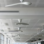 Each ceiling fan throughout the office space are controlled by a novel DALI addressable device.